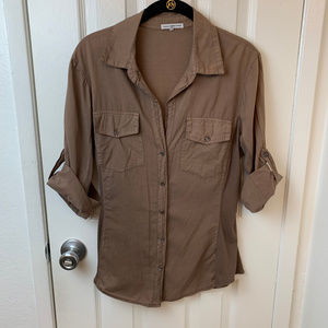 James Perse Contrast Ribbed Surplus Shirt. 4